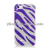 Cell Phone Purple Zebra Bling Full Diamond Rhinestone Jewelry Case Cover for Apple iphone5C
