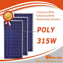 Shinefar High Quality Monocrystalline Solar PV Module 315W pvt hybrid solar panel with solar panel glass