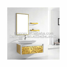 2011 Most popular products stainless steel bright shining golden bathroom vanity