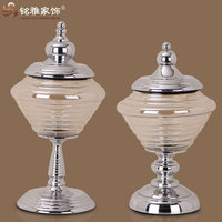 metal and glass craft beige glass body metal stand flower vase glass and metal artcraft
