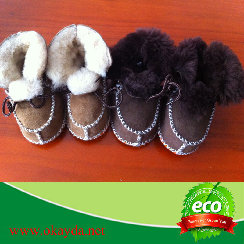 wholesale sheepskin baby shoes/ baby wool shoes