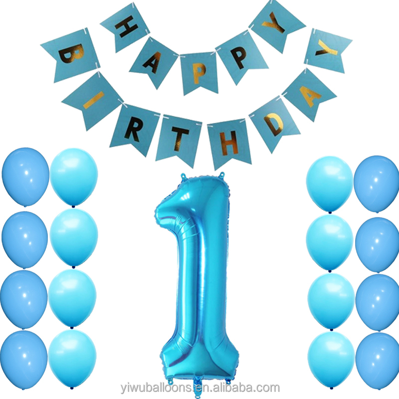 Wholesale pink blue baby boy and girl happy birthday party banner latex balloon 40inch foil 1st number balloons set