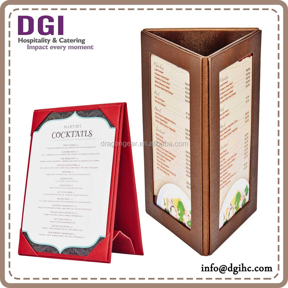 genuine leather menu holders / high quality A4 dessert real leather menu cover / led lighted menu stand