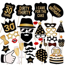 Man Woman Style Funny Mustache 30 Years Photobooth Party Favors Birthday Decor Supplies 30th Birthday Photo Booth Props