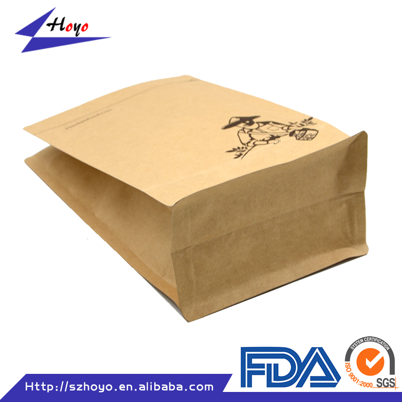 2016 Recyclable Aluminum Foil Kraft Paper Bag With Ziplock For Fast Food Packaging Bag/.