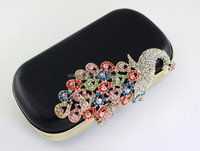 6.5 x 3 3/4 inches - Peacock - Luxury Rhinestone Light Golden Clamshell Purse Frame and Case with Chain Loops (kzm0098)