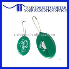 Hot selling oval shape logo printed colorful silicon pvc coin holder with keychain for promotional gift
