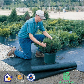 Green weed control mat