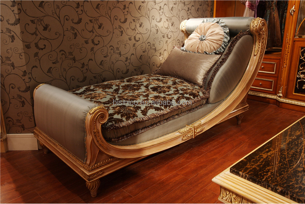 New design fancy golden wood hand carved chaise lounge for Chaise inclinable