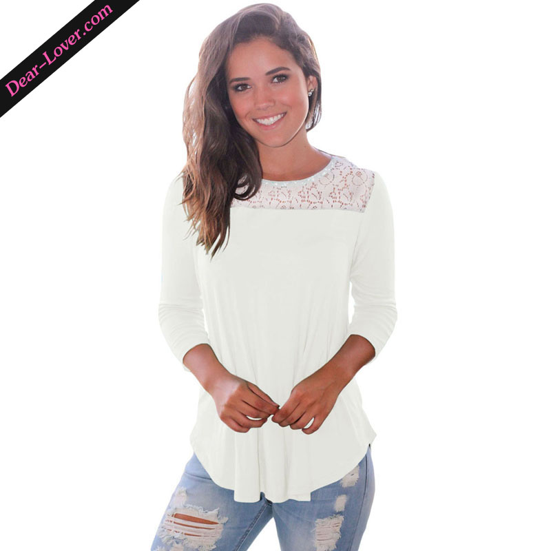 Patchwork O-Neck Lace Shoulder Low Cut Back Three Quarter Sleeve Blouses Tops