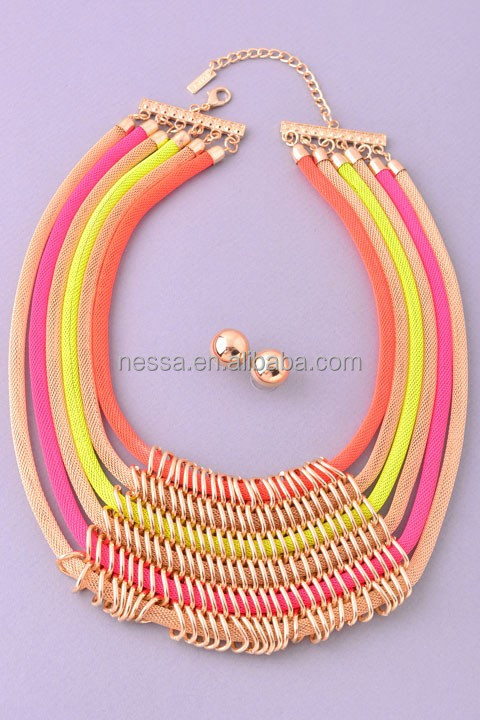 Fashion gold chain necklace in roll NSNK-25850