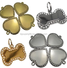 Diamond Bling Bone/Four-leaf Engraved Pet Tags Dog/ Name Tags