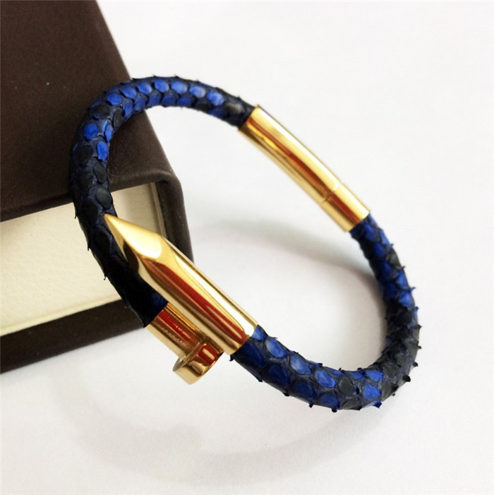 Custom Real Python Leather Gold Rose Gold Nail Bracelet_1