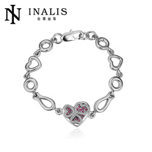 Charming hot sale 18K real white gold plated crystal Bracelets