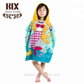 china suppliers woven microfiber kids poncho beach towel