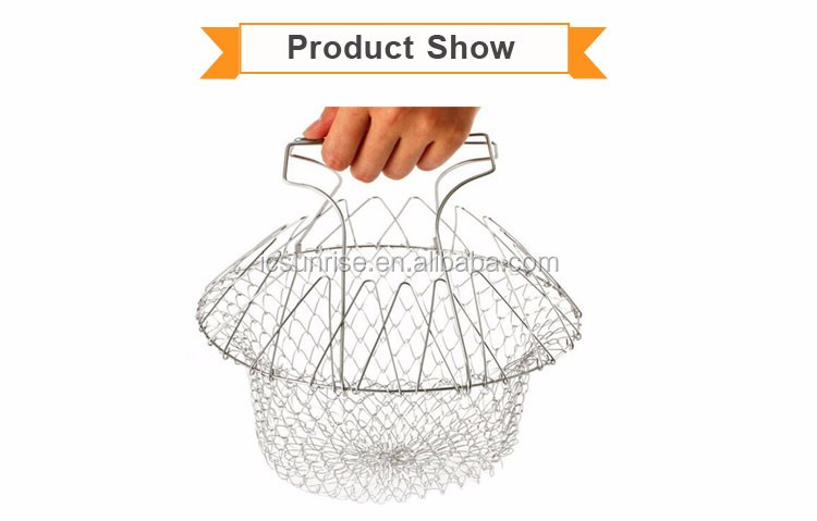 Stainless Steel Deep Frying Chef Foldable Basket