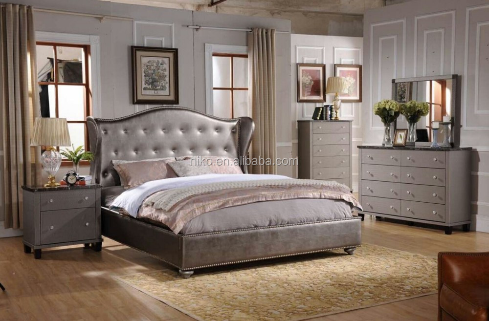 Niko Home Furniture Emily Contemporary Wood Bedroom Set With Bed Dresser Mirr