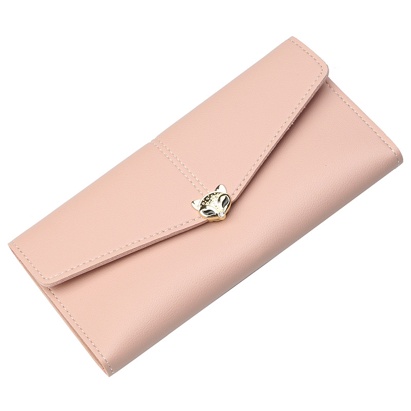 2018 New tri-fold Korean sweet simple purse metal letter ladies long PU leather cheap women clutch <strong>wallet</strong>