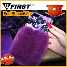 Luxury goods Luxury real fur mobilephone Case For iphone4 4s white color rabbit hair