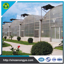low cost polycarbonate polytunnel 200 micron uv resistant plastic film greenhouse for sale