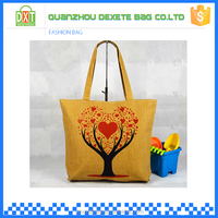 New style wholesale stylish yellow tote canvas bag factory