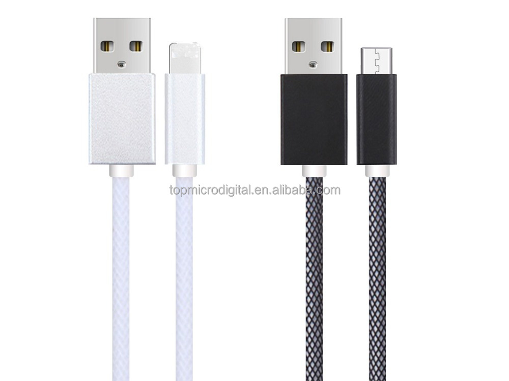 Wholesale fishing wet nylon braided usb cable fast charge data cable for iphone 5/6
