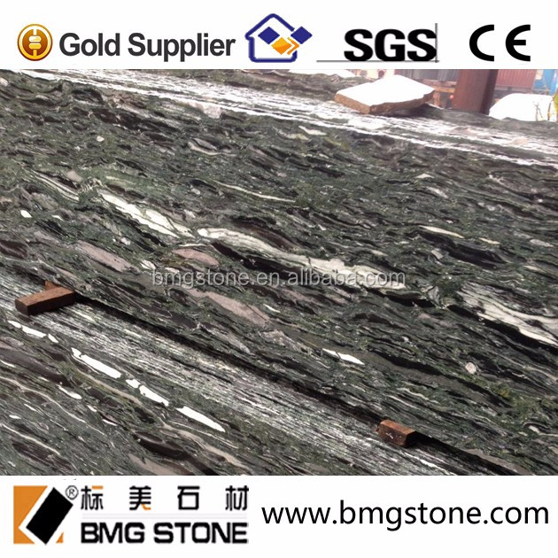 Ocean Green Granite Slab Tile China Burma Green Glossy Wave Veins
