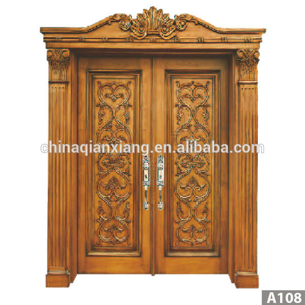 High quality door antique carved wood double door design for Main double door design photos