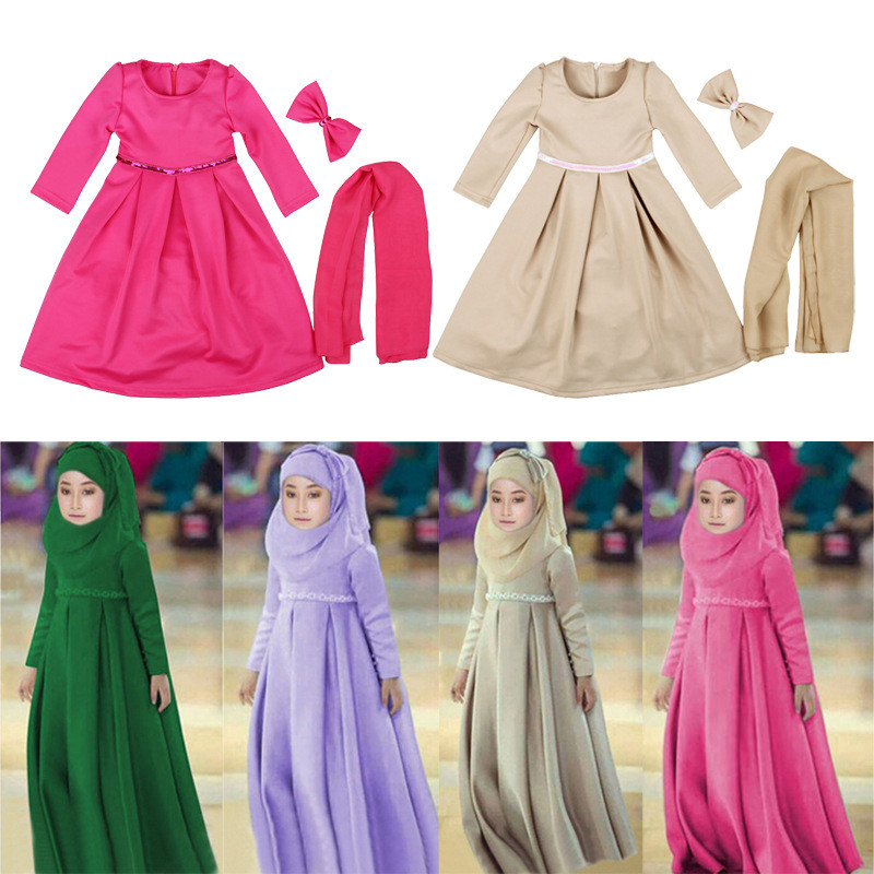 2018 Fashion kid dresses custom cotton wholesale girl dress for muslim girls