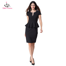 Women's Cap Sleeve Bodycon Wiggle Pencil Formal Office Work Career Wear Fashion Ladies Notch Neck Sexy Black Midi Peplum Dress