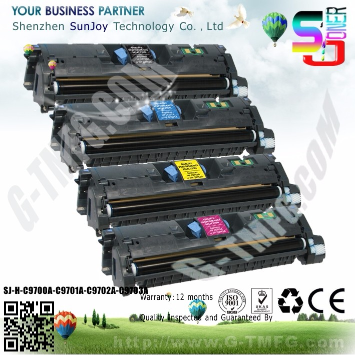 Sunjoy recycled color Laser toner cartridge C9700A for HP Laserjet 1500 2500 Color Series