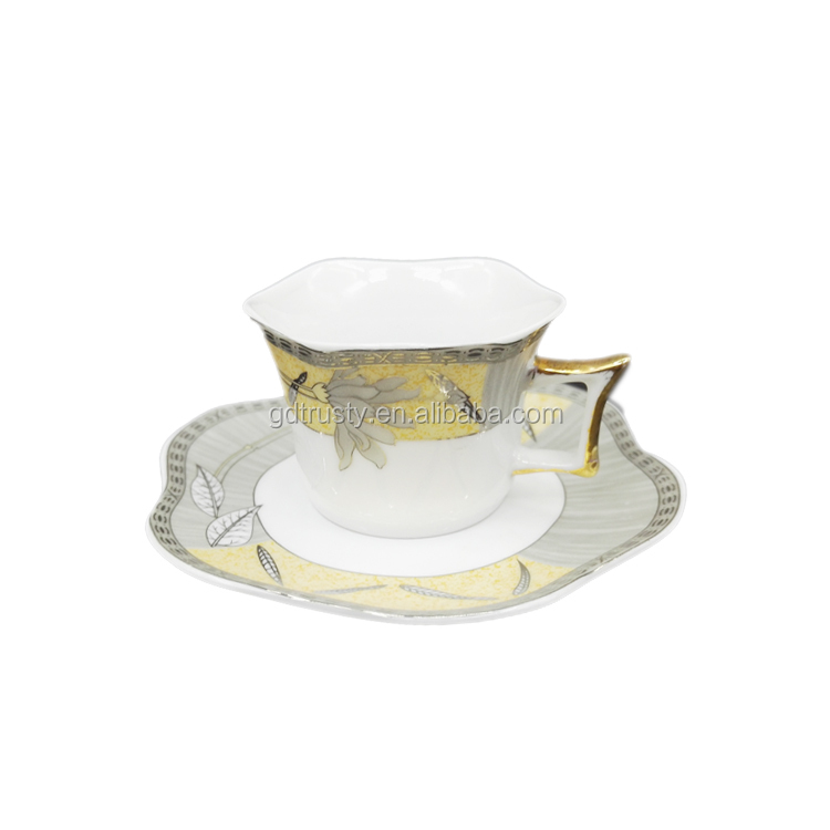 150ml bone china Porcelain Shelley Yellow Silver tea mug cups and saucers