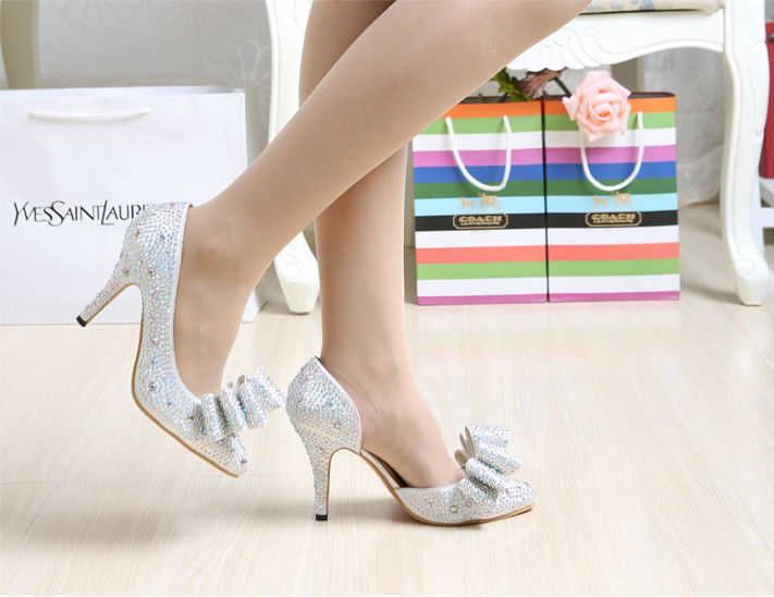 2014 new silver high-heeled wedding shoes diamond bow pointed crystal wedding shoes bridal high heel pumps shoes for women