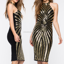 2016 new fashion women clothing gold halter sequin bodycon dress