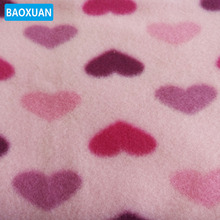 100% poly heart shape pink polar fleece printed fabric