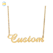 Custom Women Personalised Plate Gold Stainless Steel Name Necklace