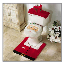 3 pcs Fancy Santa Christmas toilet seat cover and rug bathroom set