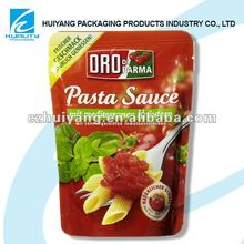 Disposable plastic metal stand up zipper bag for sauce packaigng