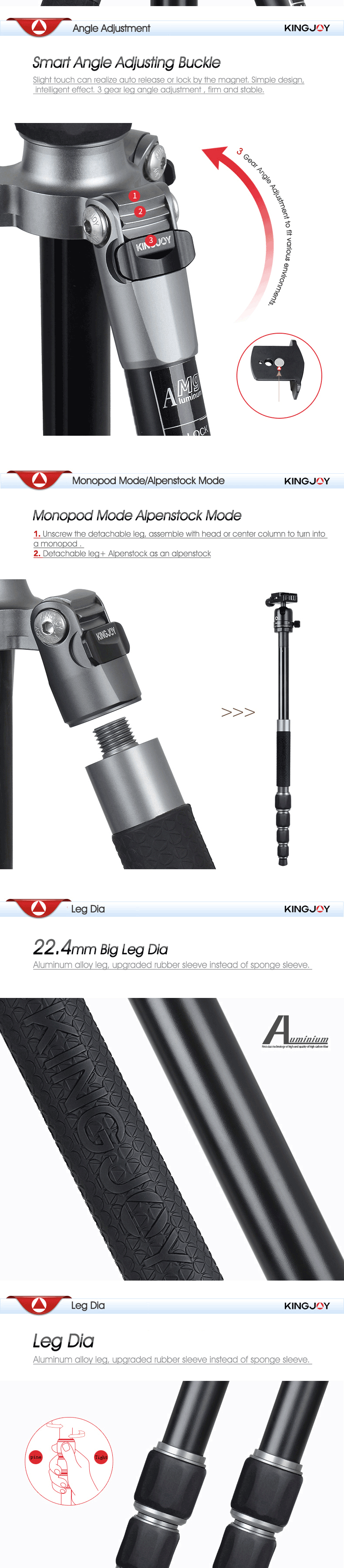 Kingjoy New Multi-functional 5 Sections Aluminum Tripod Monopod with 360degree Panoramic Ball Head