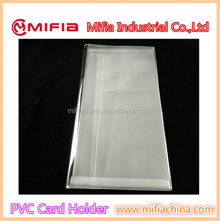Customized PVC plastic clear made soft pvc transparent card holder travel cover