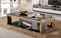 Simple modern glass coffee/tea table rectangular living room stainless steel