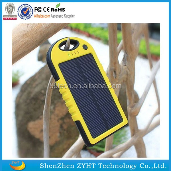 Travel products new design hot sale LED lightings 10000mah solar power bank waterproof best solar cell phone power charger