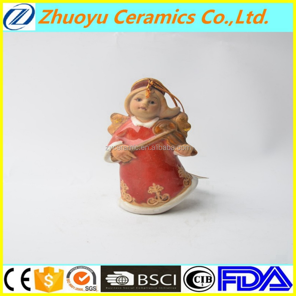 Cheap Small Ceramic Angel Figurine with Violin for Christmas
