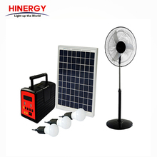 Hinergy portable mini LED solar home lighting system with dc fan
