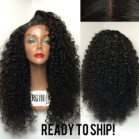 High Quality Remy Hair black kinky curl Finger Wave Wig resonable price