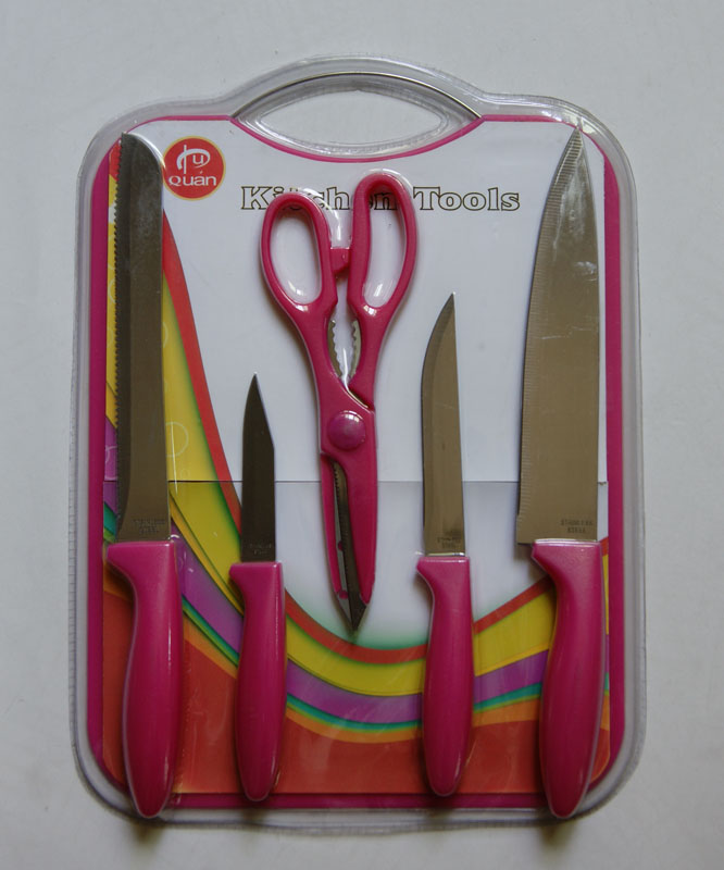 6PCS KNIFE KNIVES SETS WITH SCISSORS AND CUTTING BOARD