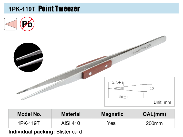 BRAND Proskit Magnetic Stainless Point Tweezer (200mm)