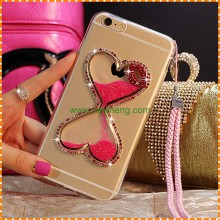 Heart Shape Liquid Quicksand Flexible Cell phone Case Cover for Iphone 6 6s 6plus 7 case