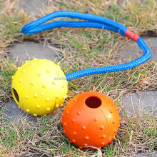 2014 Eco-friendly Knotted Cotton Rope rubber ball dog toy/Rope dog toy