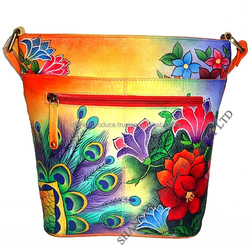 Leather Hand Painted Bucket Bag